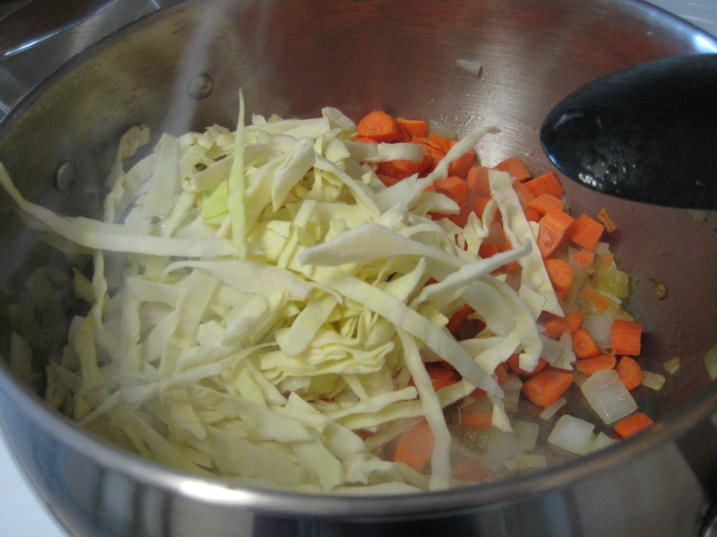 sauteeing veggies for soup