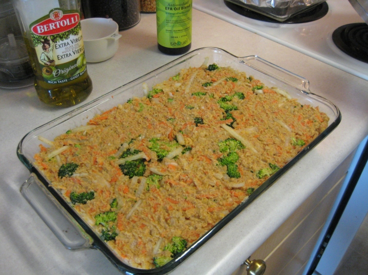chickpea and broccoli casserole ready for oven