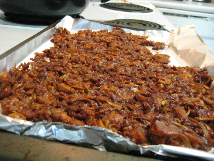 baking sheet covered in bbq jackfruit